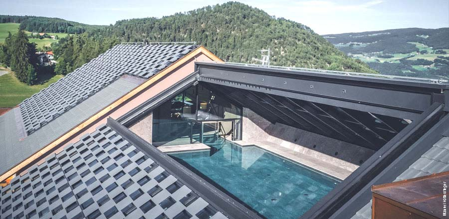30 degree inclined automatically opening glass roof