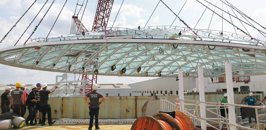 Self-supporting glass roof dome with a weight of 105 tons by FRENER & REIFER for Meyer Werft