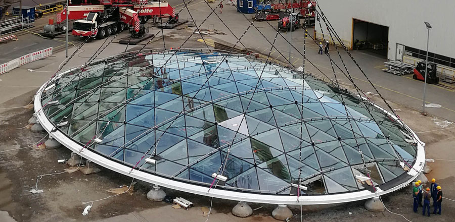 Self-supporting glass roof dome by FRENER & REIFER with 350 sheets of triangular double-layer glazing for Meyer Werft