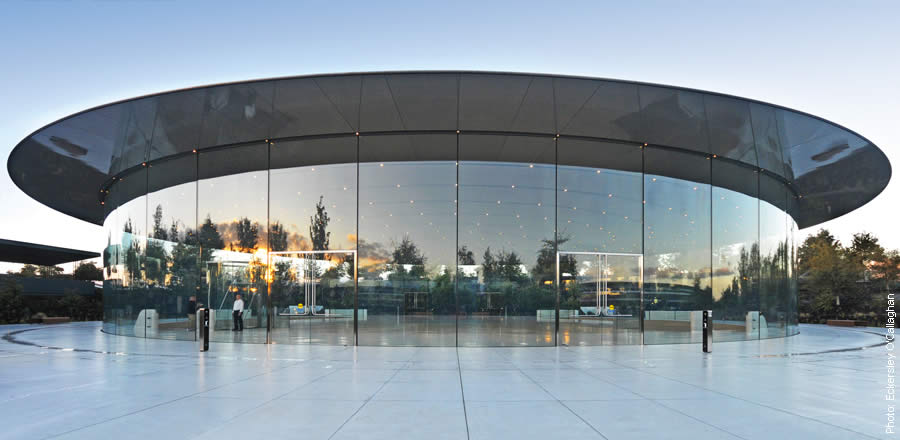 load-bearing, curved glass facade with carbon fiber roof